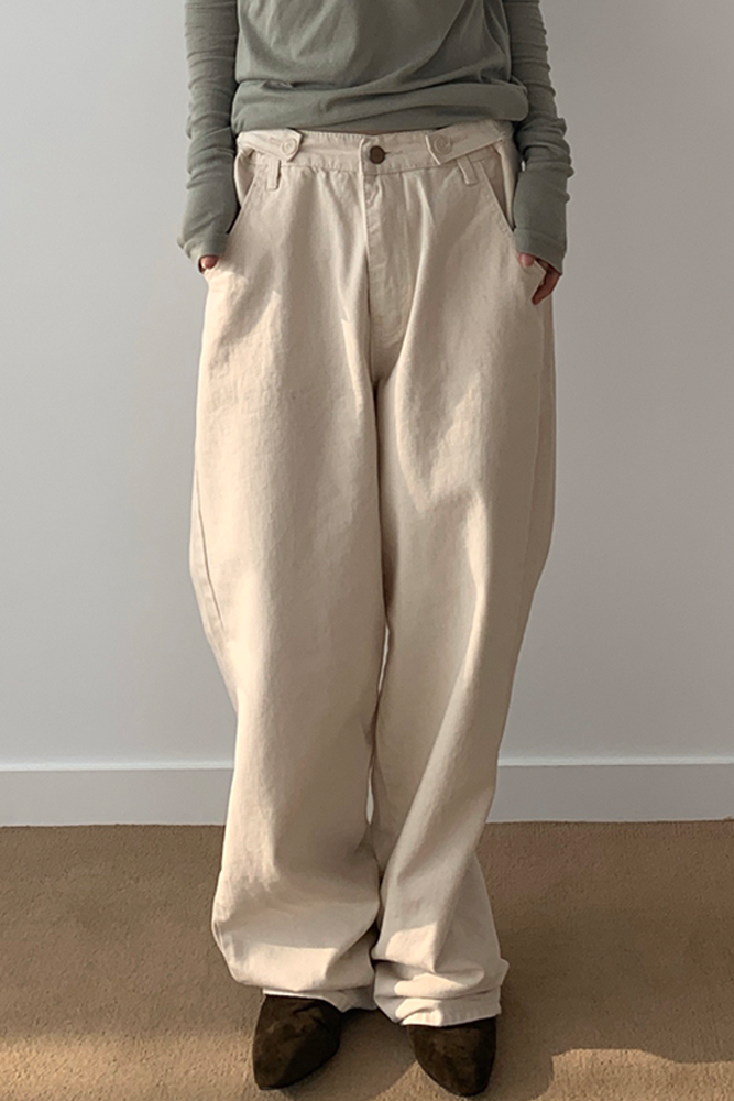 Button-up cotton trousers
