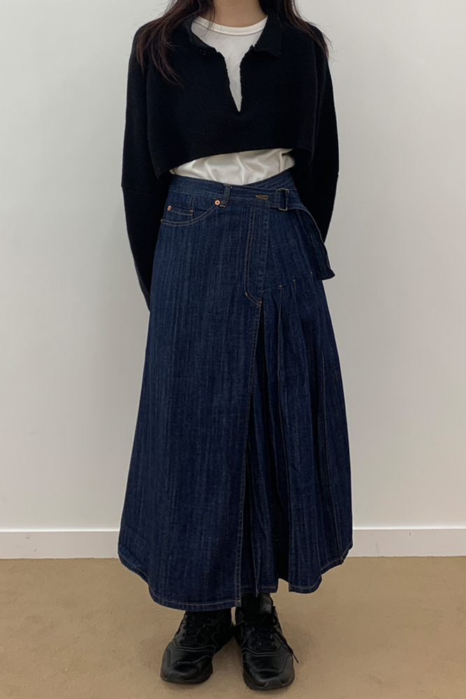 Belt denim skirt