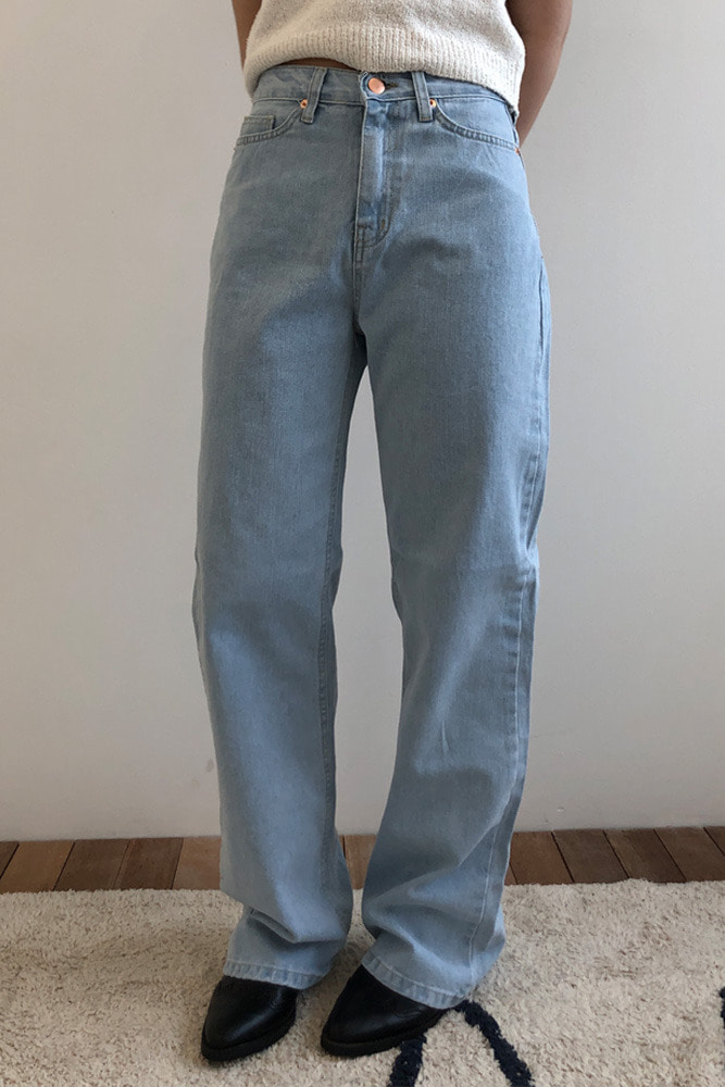 Plain straight denim pants(2colors)